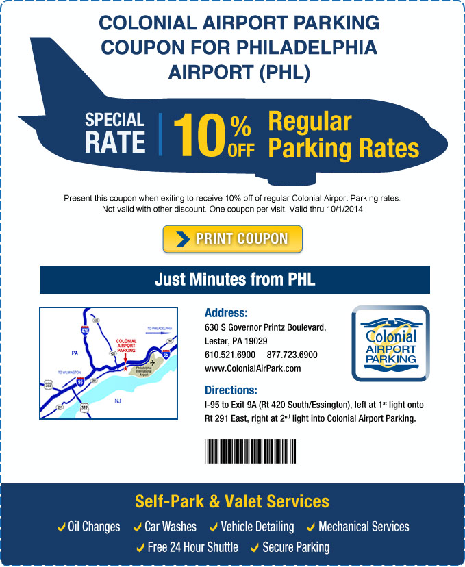Airport Parking deals in Philadelphia, PA: 50 to 90% off deals in Philadelphia. Parking at Doubletree Airport (Philadelphia). Four or Seven Days of Airport Parking with Airport Transportation from Payless Parking (Up to 47% Off) (PHL). Parking at WallyPark.